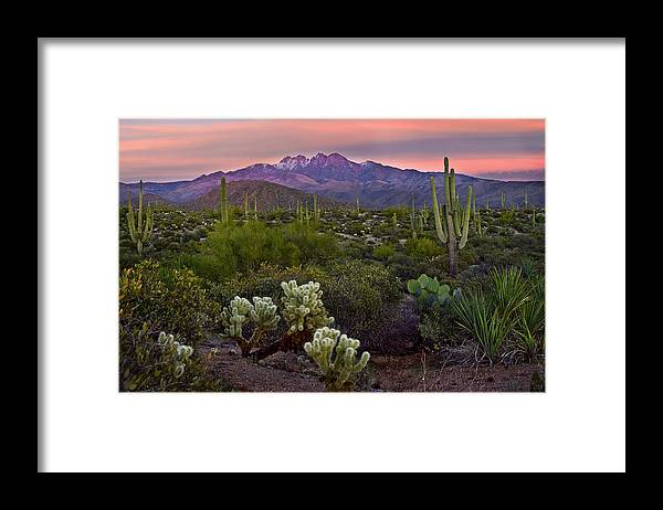 Arizona Framed Print featuring the photograph Four Peaks Sunset by Dave Dilli