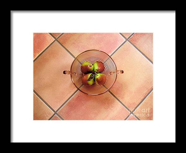Nature Framed Print featuring the photograph Four Pears In A Bowl On Tile by Lucyna A M Green