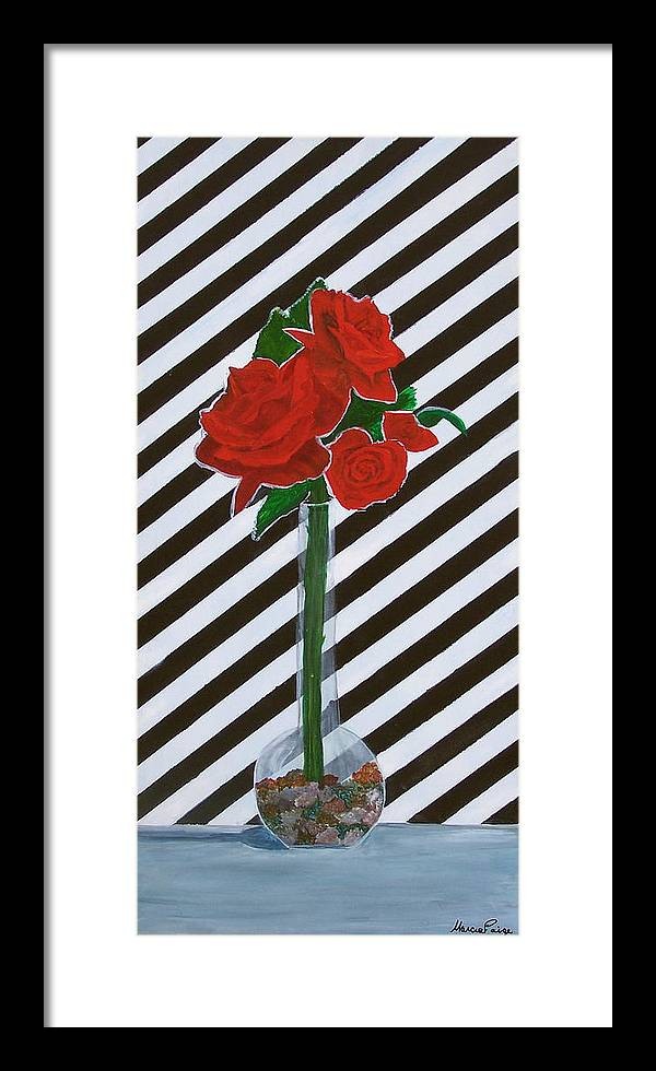 Flowers Framed Print featuring the painting Four Roses by Marcia Paige