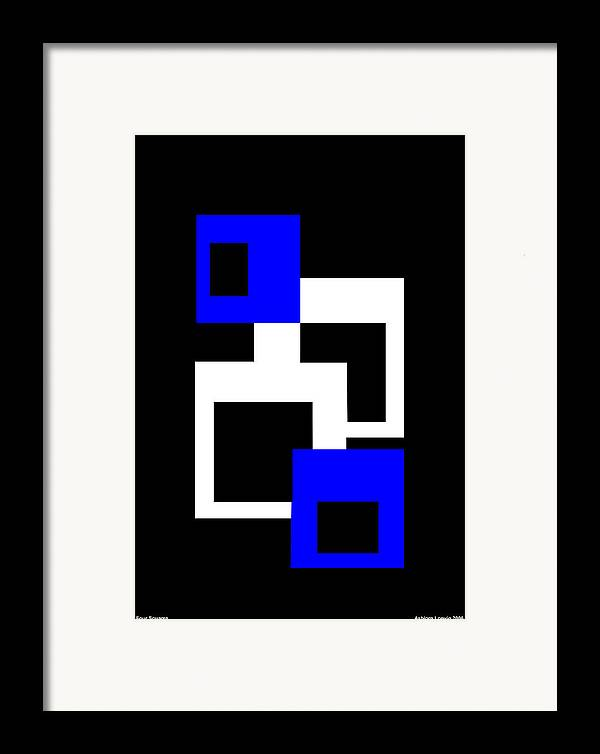 Four Squares Framed Print featuring the digital art Four Squares by Asbjorn Lonvig