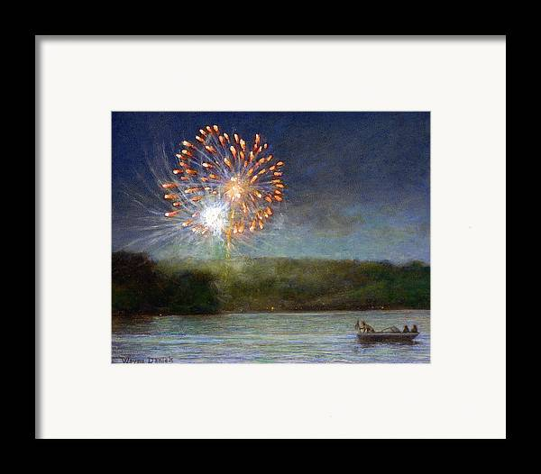 Fireworks Framed Print featuring the painting Fourth Of July- Cazenovia Lake by Wayne Daniels