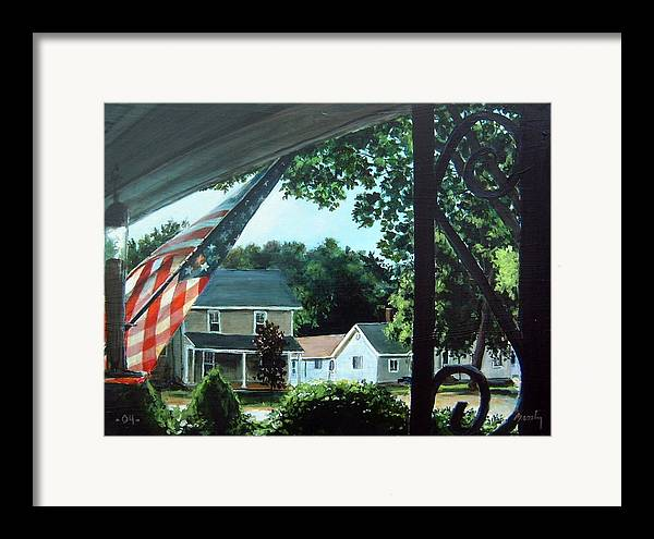 Landscape Framed Print featuring the painting Fourth Of July Morning by William Brody