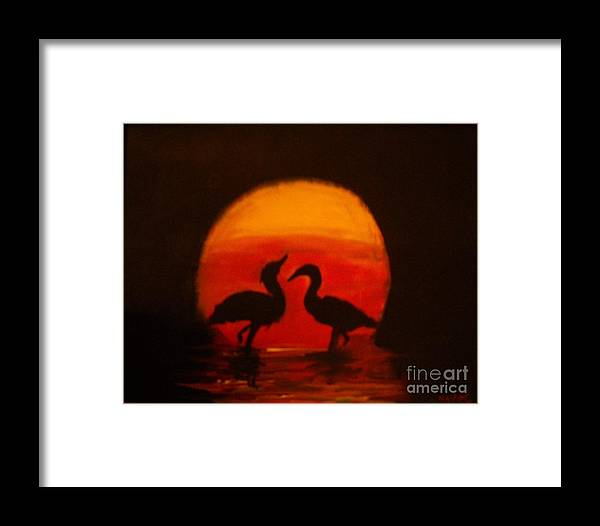 Birds Framed Print featuring the painting Fowl Love Silhouette by Leslie Revels