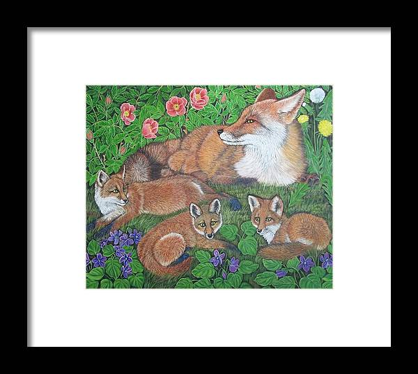 Fox Framed Print featuring the painting Fox And Kits by Sofya Mikeworth