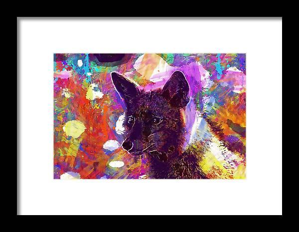 Fox Framed Print featuring the digital art Fox Animal Tuscany by PixBreak Art