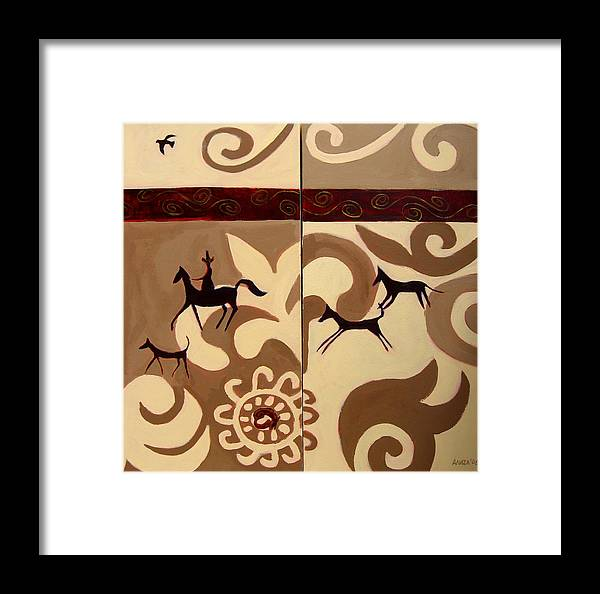 Landscape Framed Print featuring the painting Fox Hunt  by Aliza Souleyeva-Alexander