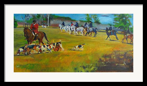 Fox Hunt Framed Print featuring the painting Fox Hunt by Kaytee Esser
