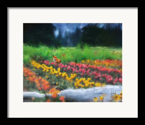 Fox Framed Print featuring the digital art Fox Watching The Tulips by Stephen Lucas