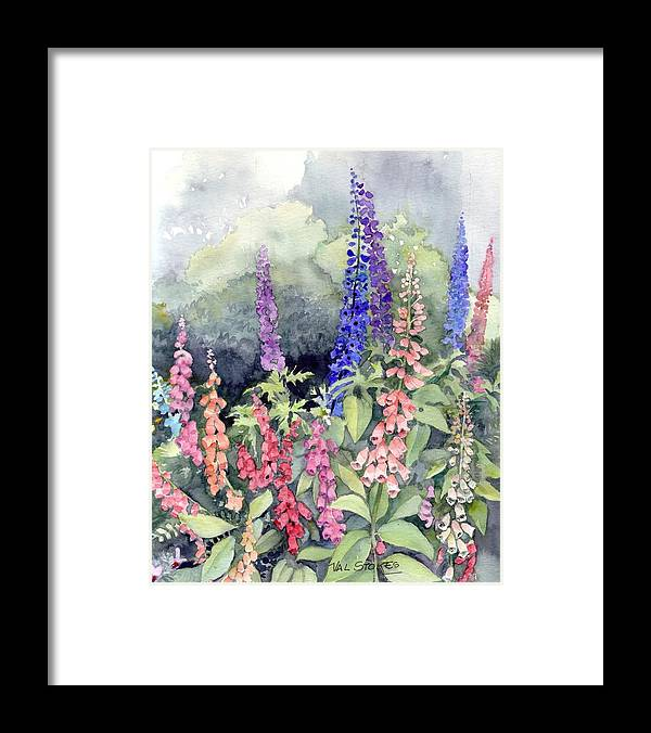 Framed Print featuring the painting Foxgloves by Val Stokes