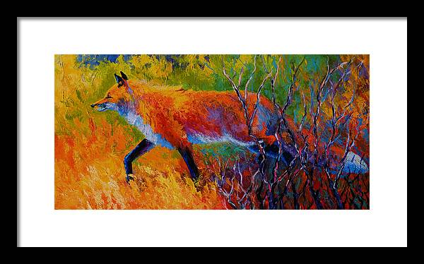 Red Fox Framed Print featuring the painting Foxy - Red Fox by Marion Rose