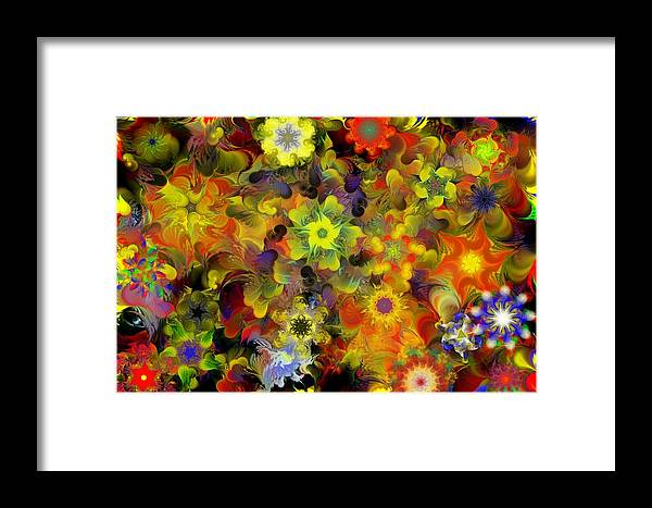 Digital Painting Framed Print featuring the digital art Fractal Floral Study 10-27-09 by David Lane
