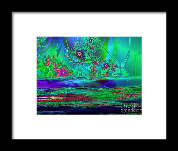 Digital Framed Print featuring the digital art Fractal Reflections by Sandra Bauser Digital Art