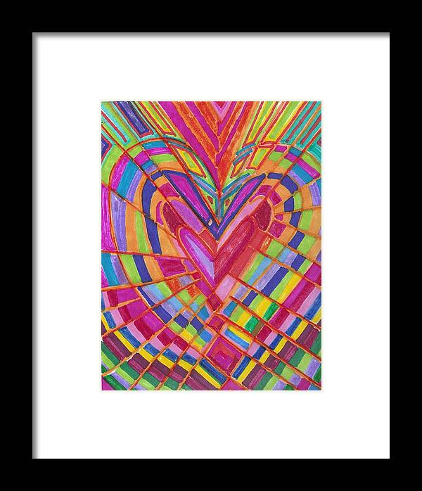 Abstract Framed Print featuring the painting Fractured Heart by Brenda Adams