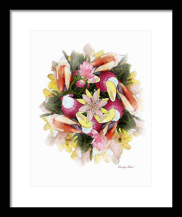 Shells Framed Print featuring the digital art Fragrant Seabreeze by Carolyn Staut