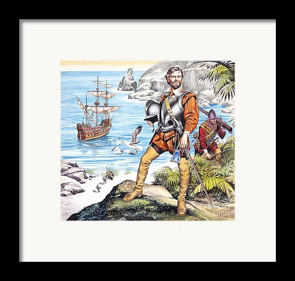 Francis Framed Print featuring the painting Francis Drake And The Golden Hind by Ron Embleton