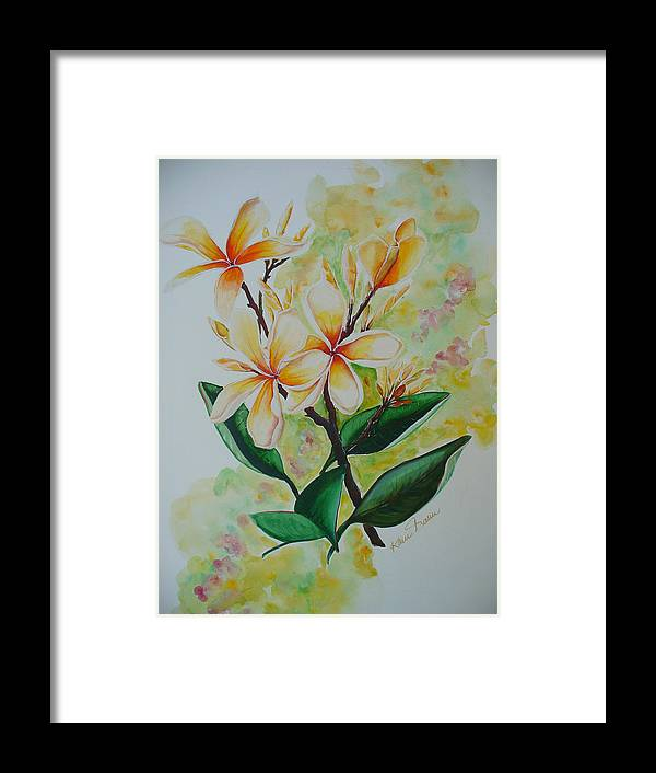 Framed Print featuring the painting Frangipangi by Karin Dawn Kelshall- Best