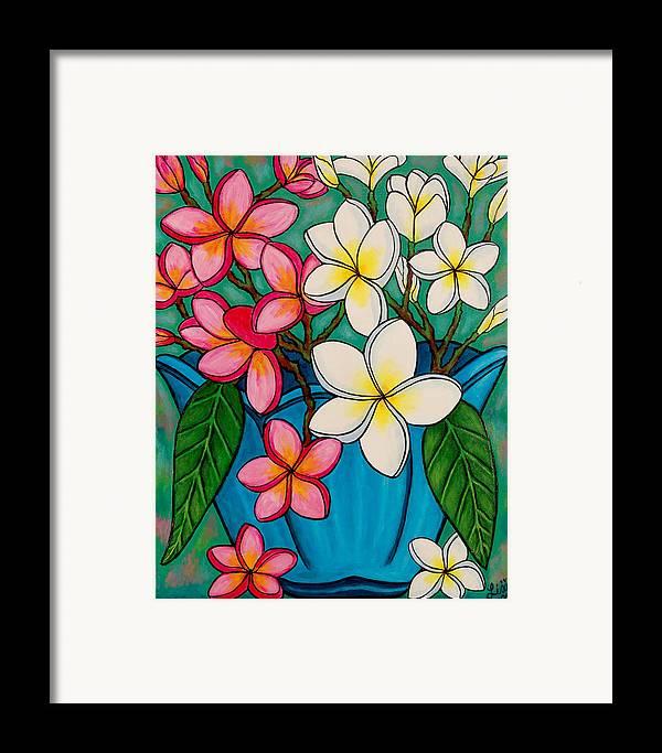 Frangipani Framed Print featuring the painting Frangipani Sawadee by Lisa Lorenz