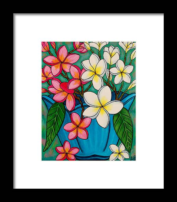 Frangipani Framed Print featuring the painting Frangipani Sawadee by Lisa Lorenz