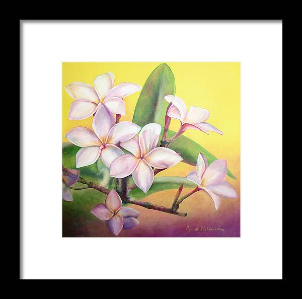 Floral Painting Framed Print featuring the painting Frangipanier by Muriel Dolemieux