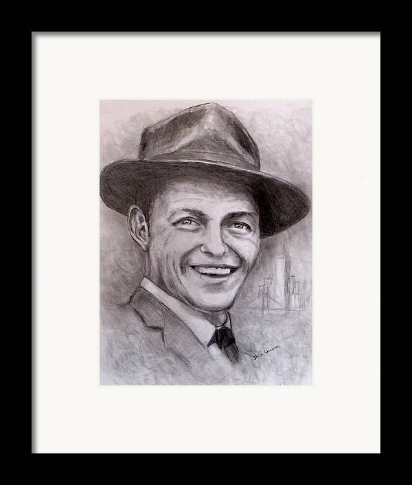 Frank Sinatra Framed Print featuring the drawing Frank by Jack Skinner