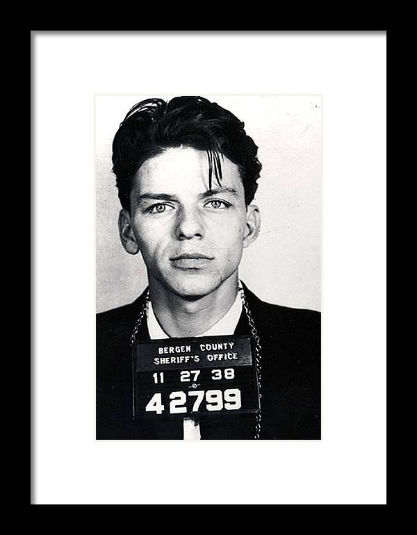 Frank Sinatra Framed Print featuring the painting Frank Sinatra Mug Shot Vertical by Tony Rubino