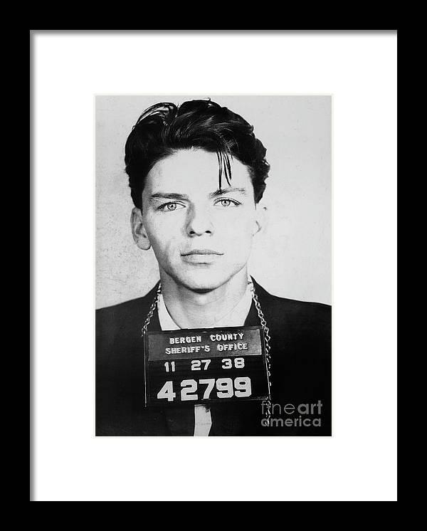 Frank Sinatra Mugshot Framed Print featuring the photograph Frank Sinatra Mugshot by Jon Neidert
