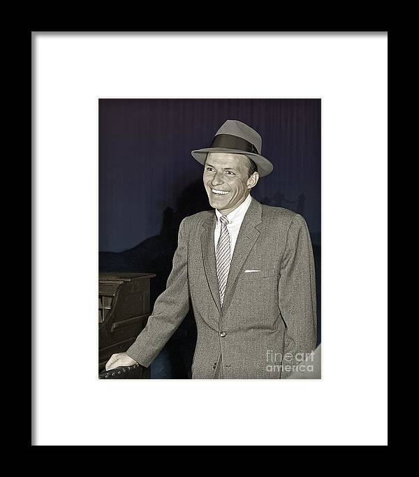 Frank Sinatra Framed Print featuring the photograph Frank Sinatra On Set by Martin Konopacki Restoration