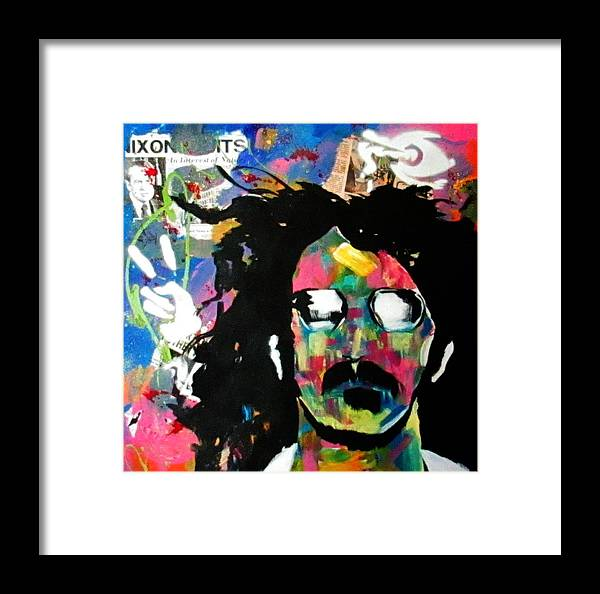 Frank Zappa Framed Print featuring the painting Frank Zappa Pop Art by L Lindall
