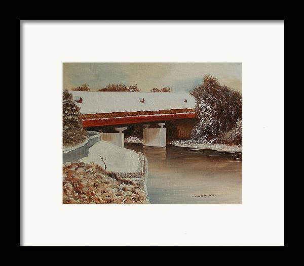 Original Oil Winter Landscape Framed Print featuring the painting Frankenmuth Michigan by Sharon Steinhaus