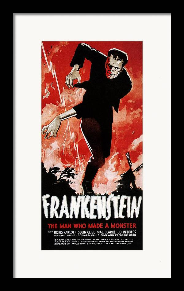 1930s Movies Framed Print featuring the photograph Frankenstein, Boris Karloff, 1931 by Everett