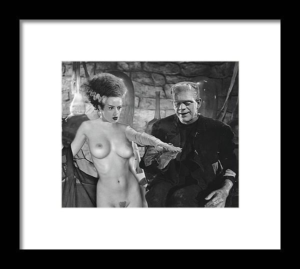 Framed Print featuring the digital art Frankenstein Bride by Jorge Fernandez