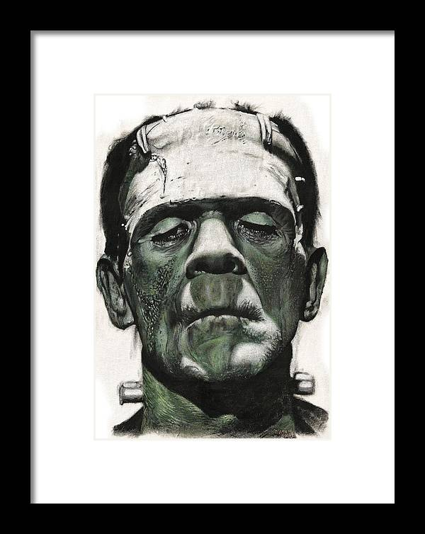 Portrait Framed Print featuring the painting Frankenstein Portrait by Daniel Ayala