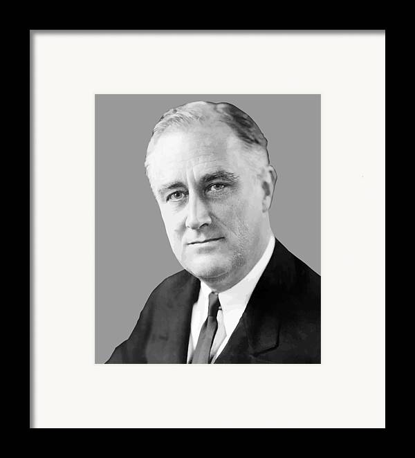 Franklin Roosevelt Framed Print featuring the painting Franklin Delano Roosevelt by War Is Hell Store