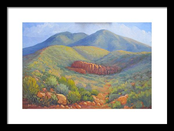 Landscape Framed Print featuring the painting Franklin Mountain Morning by Bob Adams