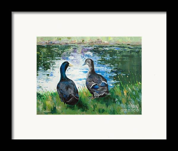 Ducks Framed Print featuring the painting Fred And Ethel At Scott's Pond by Glenn Secrest