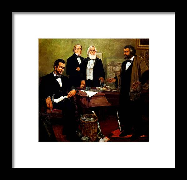 Frederick Douglass Framed Print featuring the painting Frederick Douglass appealing to President Lincoln by War Is Hell Store