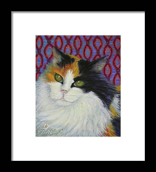 Cat Framed Print featuring the painting Fred's Cat by Minaz Jantz