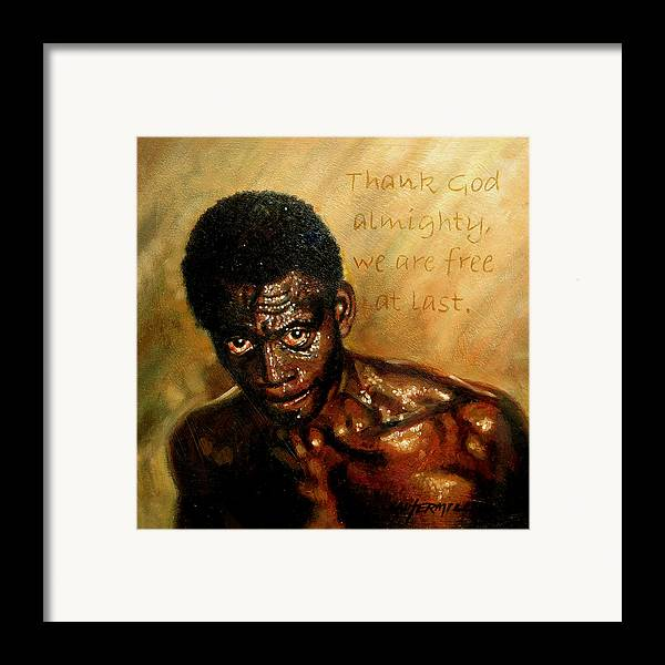 People Framed Print featuring the painting Free At Last by John Lautermilch