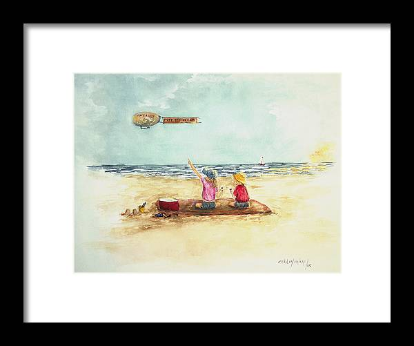 Free Ice Cream Beach Ocean Kids Framed Print featuring the painting Free Ice Cream by Miroslaw Chelchowski