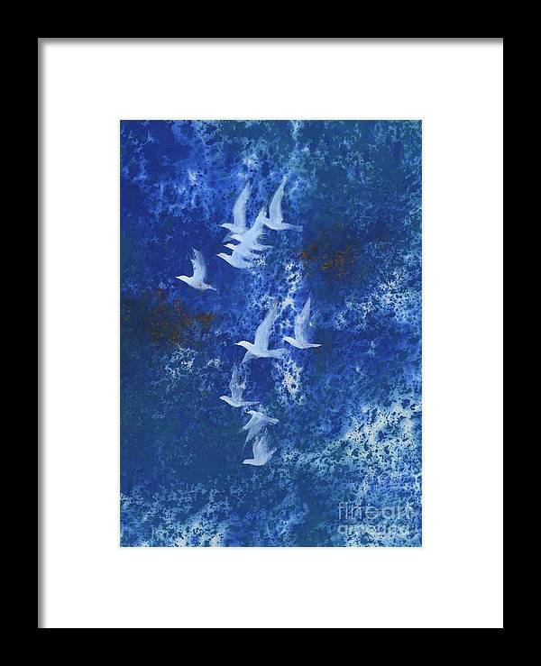 A Flight Of Doves Flying In Blue Sky. This Is A Contemporary Chinese Ink And Color On Rice Paper Painting With Simple Zen Style Brush Strokes.  Framed Print featuring the painting Free by Mui-Joo Wee