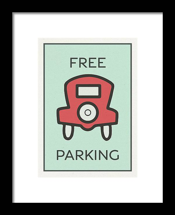 free parking vintage monopoly board game theme card framed print by