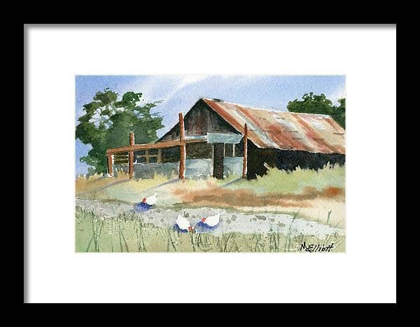 Barn Framed Print featuring the painting Free Range Chickens by Marsha Elliott