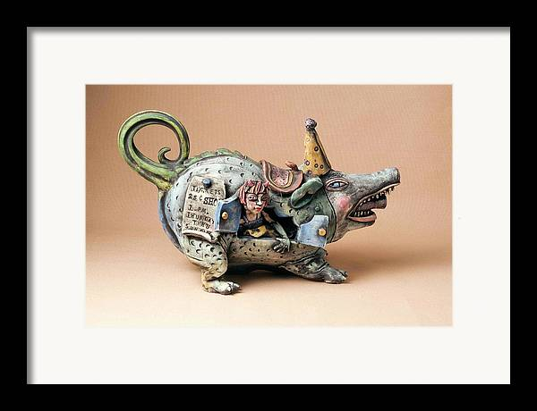 Pottery Teapot Animal Clay Fun Ceramic Framed Print featuring the ceramic art Free Ride by Kathleen Raven