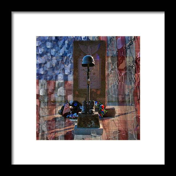 Dog Tag Framed Print featuring the digital art Freedom Ain't Free by DJ Florek