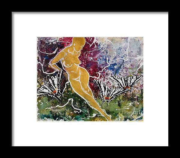 Nude Framed Print featuring the painting Freedom by Elisabeta Hermann