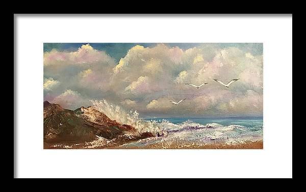 Sea Framed Print featuring the painting Freedom by Florence Ferrandino
