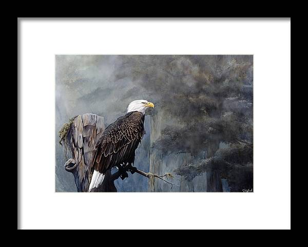 Eagle Art Framed Print featuring the painting Freedom Haze by Steve Goad