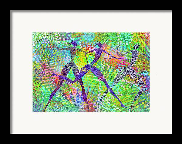 Jungle Tropical Rain Forest Figures Colourful Magical Framed Print featuring the painting Freedom In The Rain Forest by Jennifer Baird