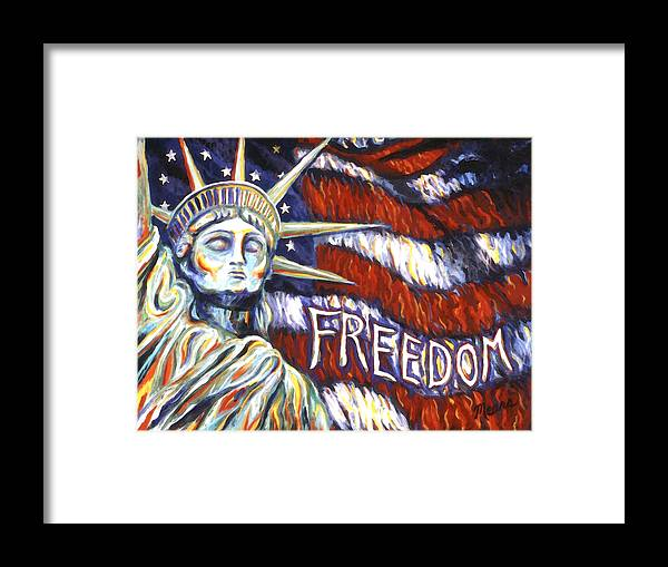 Statue Of Liberty Framed Print featuring the painting Freedom by Linda Mears