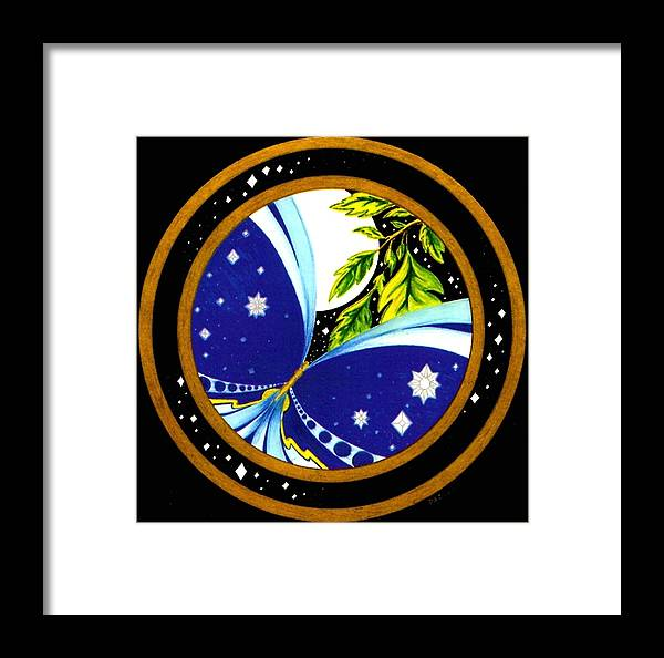 Butterfly With Stars Framed Print featuring the painting Freedom Mandala Series Number Eleven by Pam Ellis